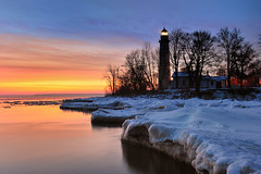 """Winters Dawn""  Point Aux Barques Lighthouse - Port Hope, Michigan (Michigan Nut) Tags: winter sky usa lighthouse snow reflection ice silhouette clouds sunrise lighthouses michigan lakehuron johnmccormick pointauxbarqueslighthouse michigannutphotography"