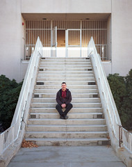 Shawn Gerstenberger (andrew sea james) Tags: portrait man 120 film stairs mediumformat pentax lasvegas kodak nevada scanned editorial epson 100 6x7 smc unlv ektar 105mm f24 v500 shawngerstenberger