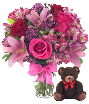 European Romance Bouquet with Bear