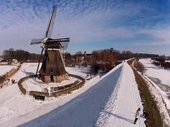 Waardenburg (Fabfoto) Tags: snow netherlands windmill dutch river aerial dijk dike pap molen windmolen waal gelderland rivier waardenburg poleaerialphotography