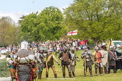 [2014-04-19@15.15.24a] (Untempered Photography) Tags: history costume flag helmet battle medieval bow weapon sword knight shield archery armour reenactment combatant chainmail canonef50mmf14 perioddress polearm platearmour gambeson poleweapon mailarmour untemperedeye canoneos5dmkiii untemperedeyephotography glastonburymedievalfayre2014