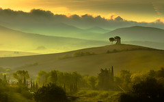 Tuscany morning (explored) (strupert) Tags: morning autumn italy mist tower sunrise nikon tuscany d750 70200mm bibona