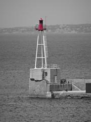 Lighthouse (Hlne_D) Tags: sea blackandwhite bw mer lighthouse france port harbor marseille noiretblanc nb paca aviary provence phare mediterraneansea vieuxport mditerrane bouchesdurhne blackwhiteandred mermditerrane provencealpesctedazur lajoliette diguedularge hlned diguesaintemarie diguestemarie feudelajoliette