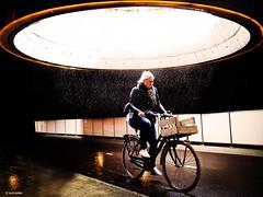 shit happens (Ren Mollet) Tags: woman rain bike bicycle yellow underground shit groningen velo regen unterfhrung renmollet