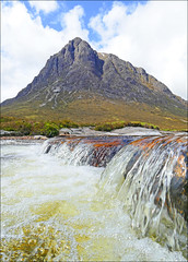 Buachaille etive mor (McRusty) Tags: blue sky sunlight white mountain beautiful clouds river outdoors scotland waterfall stream fluffy bubbles highland majestic mor buachaille bubbling etive munro herdsmanofetive