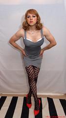Silver dress 2 (eileen_cd) Tags: standing tv cd transvestite bandage crossdresser redheels silverdress patternedtights