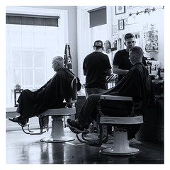 Barbers B+W (B. Gohacki) Tags: haircut shop zeiss work 35mm hair t 50mm pentax cut working barber nik backlit fullframe dslr processed ricoh barbers planar k1 f17 silverefexpro