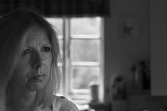 Reflecting (he4dgirl) Tags: blackandwhite selfportrait me window kitchen self naturallight identity oldcottage