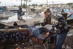 DIY Life (Haenk Hill) Tags: park urban pool rain finland underground concrete graffiti diy skateboarding bbq skate after barbeque tampere ug sk8 pispala tikkutehdas
