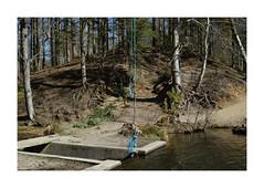 Blue lines. Slens, Denmark (2016) (csinnbeck) Tags: blue lake lines forest denmark concrete spring sigma rope line merrill 2016 s dp2 slen slens dp2m