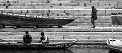 @ Varanasi, UP (Kals Pics) Tags: life morning travel people blackandwhite india reflection men water monochrome work river boats blackwhite walk varanasi conversation ganga ganges roi benares ghat kasi cwc incredibleindia rootsofindia kalspics chennaiweelendclickers