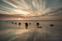 EMERGING       (North Sands, Hartlepool, England) (lynneberry57) Tags: longexposure light sea seascape water clouds sunrise canon coast colours jetty 70d woodenremains leebigstopper