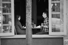 The Lunch Date (John Bense) Tags: people blackandwhite food woman man window monochrome table lunch washingtondc couple georgetown eat meal date manandwoman
