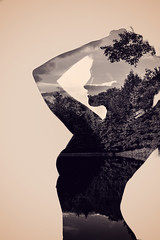 Vintage Doule (vnstudios) Tags: woman double exposure art artistic female body face tree landscape silhouette branches leaves