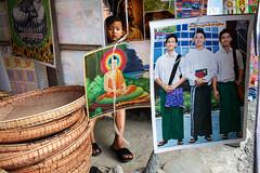 Street scene - Kalaymyo, Myanmar (Maciej Dakowicz) Tags: people children asia market buddha religion jesus streetphotography myanmar kale kalay kalaymyo