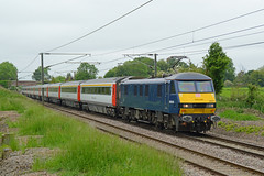 90034 Great Moulton 02/06/16 - Odd One Out - 900034 speeds through Great Moulton on the 2nd of June 2016. The on loan DB Cargo machine is now the only Class 90 not in Greater Anglia White to haul GA services. (rhayward92) Tags: uk great db cargo moulton 90034 class90 abellio 1p49 greateranglia