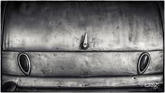 Tail Lights (dougkuony) Tags: blackandwhite bw detail monochrome mono automotive trunk hdr taillights latch coffeecruise