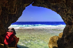 Liku Cave (fotonut NZ) Tags: ocean blue sea island coast dangerous rocks waves wind outdoor scenic east cave reef rugged niue liku