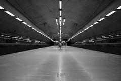 Bagarmossen (maekke) Tags: urban bw reflection architecture underground noiretblanc sweden stockholm pov streetphotography symmetry pointofview fujifilm tunnelbana 2016 x100t