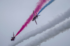 Red Arrow on your tail (Latitude53 Photography) Tags: red its flying force flat display hawk flag aircraft smoke air royal best airshow gb arrows reds raf aerobatics the cosford