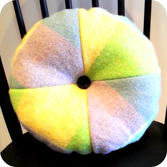 Round wool rug cushion/pillow (A Little Vintage) Tags: pink green wool yellow interiors purple buttons sew pins pillow round rug cushion rectangle checked woolrug alittlevintage woolrugcushion