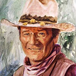 "<b>John Wayne</b><br/> Roy Hampton (1923-) ""John Wayne"" Watercolor, 1978 LFAC #949<a href=""http://farm8.static.flickr.com/7176/6779927912_533cf56edc_o.jpg"" title=""High res"">∝</a>"