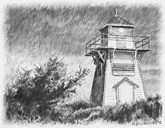 A pencil drawing of the Brackley Beach Lighthouse, PEI (PhotosToArtByMike) Tags: lighthouse seascape canada landscape digitalart scenic computerart princeedwardisland pei pencildrawing digitaldrawing landscapephotograph brackleybeachlighthouse