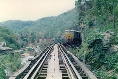 Thailand - Burma Railway - Train on trestle I (railasia) Tags: trestle thailand infra nineties kanchanaburi srt krasae burmarailway wangpho metergauge henchel series3000 dhlocotrain
