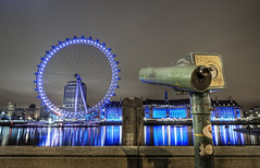 Keeping an eye on The Eye (odin's_raven) Tags: city london eye wheel night reflections lights shot londoneye millenium milleniumwheel telescope raven hdr odins odinsraven