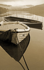 Waterlogged boats (kenny barker) Tags: winter mist reflection monochrome sepia landscape lumix scotland loch shining trossachs lochard artdigital landscapeuk daarklands panasonicgf1 exoticimage truthandillusion welcomeuk kennybarker