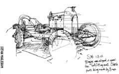 Fiat S76 ink sketch (Stefan Marjoram) Tags: art classic car pen ink vintage sketch drawing
