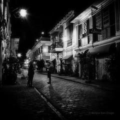 Calle Crisologo in Mono (Meljoe San Diego) Tags: bw night mono fuji philippines x10 ilocossur callecrisologo vigancity meljoesandiego