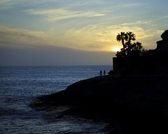 Evening walk (Barry_Madden) Tags: sunset sea people silhouette evening rocks walk palmtrees tenerife canaryislands