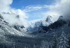 Yosemite valley with Stephen, Lauren N. Roth, and Emil Leong (sxates) Tags: california camping winter white lake snow black mountains fog forest river landscape waterfall raw cloudy scenic cliffs yosemite snowing ansel