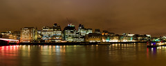 London's Iconic Reflections (Jonathan.Russell) Tags: bridge red panorama reflection london up thames architecture night canon river lens lights pier long tripod panoramic estuary kit lit 18 55 gherkin southwark customs revenue mi6 the f35 exposoure hmrc 40d