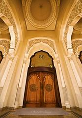 Al-Nour Mosque Gate (A. Shamandour) Tags: sea building tower architecture night photo dubai shoot gulf shot uae architectural photograph arab syria damascus purble sharja shareqa abdulhameedshamandour alnourmosquegate
