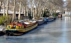 Canal du Midi, Pont des Demoiselles, Toulouse (lyli12) Tags: france nature canal nikon eau neige toulouse péniche gel 2012 canaldumidi hautegaronne midipyrénées