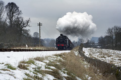 Steaming Ahead (Elliot young) Tags: uk trees snow motion up field grass train 50mm moving minolta top smoke sony wheels young railway steam line header valley rails worth coming elliot haworth kwvr oxenhope dubble 41241 43924 a450 kieghley