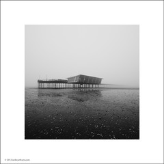 Southport Pier (Ian Bramham) Tags: bw white black beach fog photo southport ianbramham