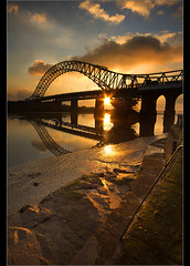 Golden Bridge portrait.... (Chrisconphoto) Tags: sunset runcorn widnes goodlight runcornbridge