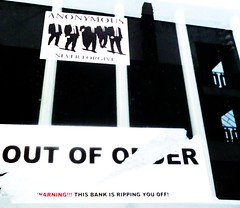 Out of Order (teaselbrush) Tags: road street city uk england urban never london art sussex coast town seaside sticker brighton tsb action circus decay political protest bank anger east coastal preston british hackers capitalism anonymous anti lloyds direct dissent capitalist banking grafitt forgive crisi hacktivism occupy