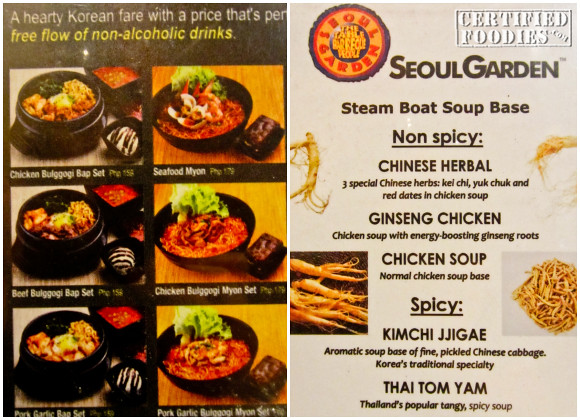 Menu at Seoul Garden - CertifiedFoodies.com