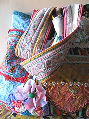 Large shopping bag (AllThingsPretty) Tags: pink blue brown flower beach apple floral vintage shopping bag square rainbow market lace embroidery antique stripes crochet large australia fabric textiles granny shoulder corduroy tote pockets textured tattered kantha allthingspretty
