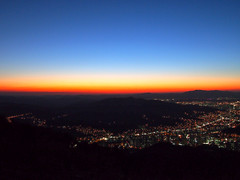 Sunset-Night-Sikjansan-Daejeon-South Korea (mikemellinger) Tags: city longexposure sunset mountain mountains colors beauty night buildings landscape lights apartments cityscape power shot hill large led hills valley southkorea crowded daejeon taejon sikjangsan
