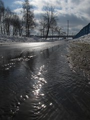 The first spring creek.   (series) (halina.reshetova) Tags: road street blue winter sky sun white cold tree nature water clouds creek fence landscape glasses spring glare blaze spangle thegalaxy