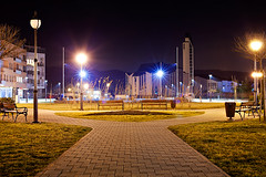 Zapresic at night (Voritex) Tags: light grass night canon long exposure path curch setnica zapresic