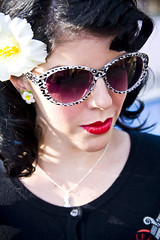 Bow and Crossbones Face of 2012 (Cherry On Fire) Tags: flower girl face up sunglasses vintage hair cherry fire pin retro bow miss crossbones 2012