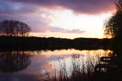 Fishermans view (Andy Coe) Tags: trees sunset red sky sun lake colour water yellow set clouds reflections lights long exposure village purple time dusk dam sony south yorkshire alpha setting lapse rotherham a77 greasborough