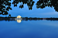 Tidal Basin Blues (Seth Oliver Photographic Art) Tags: nightphotography reflections landscapes washingtondc iso200 nikon silhouettes nationalmall nightshots bluehour monuments contrails jeffersonmemorial pinoy tidalbasin longexposures d90 nightexposures wetreflections 8secondexposure nationallandmarks aperturef110 manualmodeexposure setholiver1 bluehourphotography circularpolarizers tripodmountedshot 1024mmtamronuwalens timedelaytriggeredshot