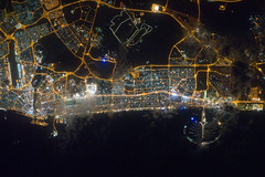Dubai, United Arab Emirates at Night (NASA, International Space Station, 02/22/12) (NASA's Marshall Space Flight Center) Tags: dubai nasa unitedarabemirates archipelago persiangulf internationalspacestation earthatnight palmjumeira stationscience crewearthobservation burjkhalifatower stationresearch